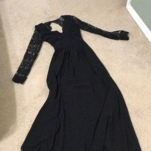 Black maxi dress with lace sleeves and open back